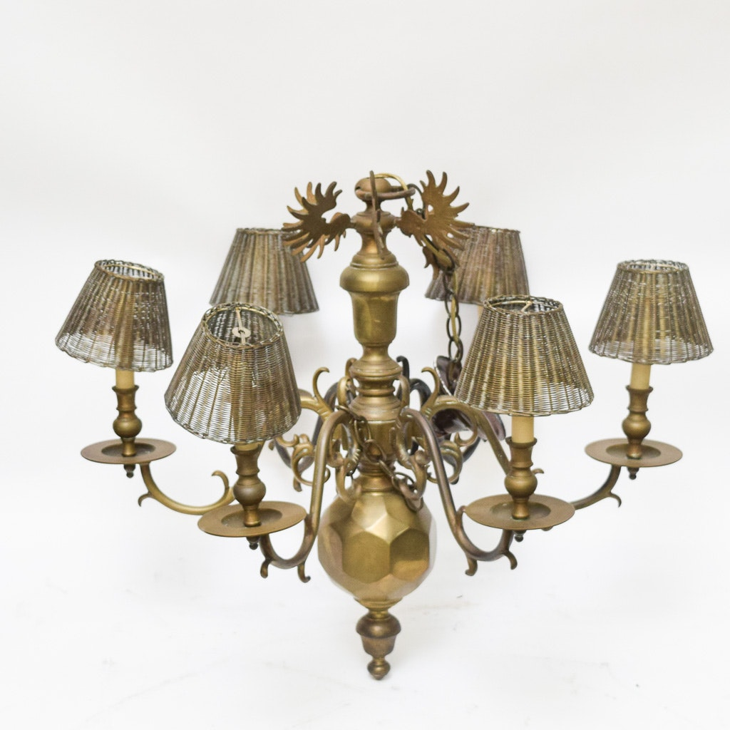 Vintage Traditional Style Brass Chandelier With Woven Shades