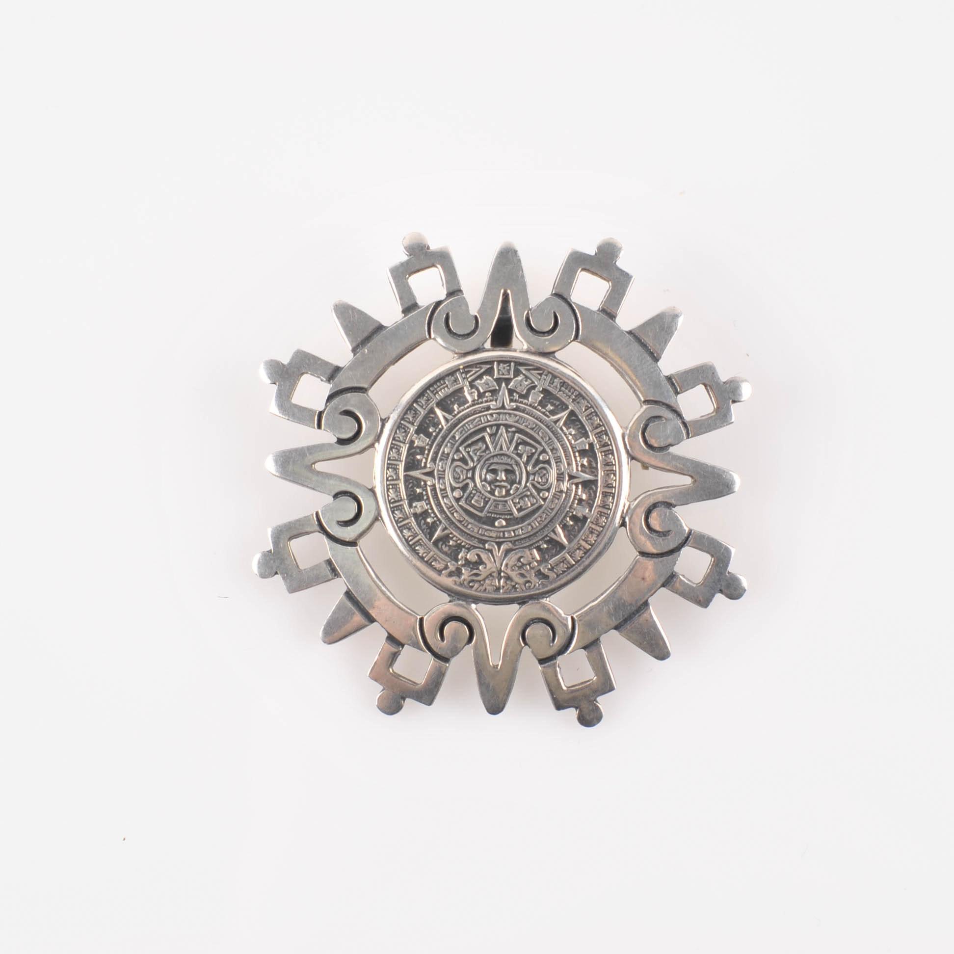 Vintage Taxco Mexico Sterling Aztec Calendar Brooch or Pendant