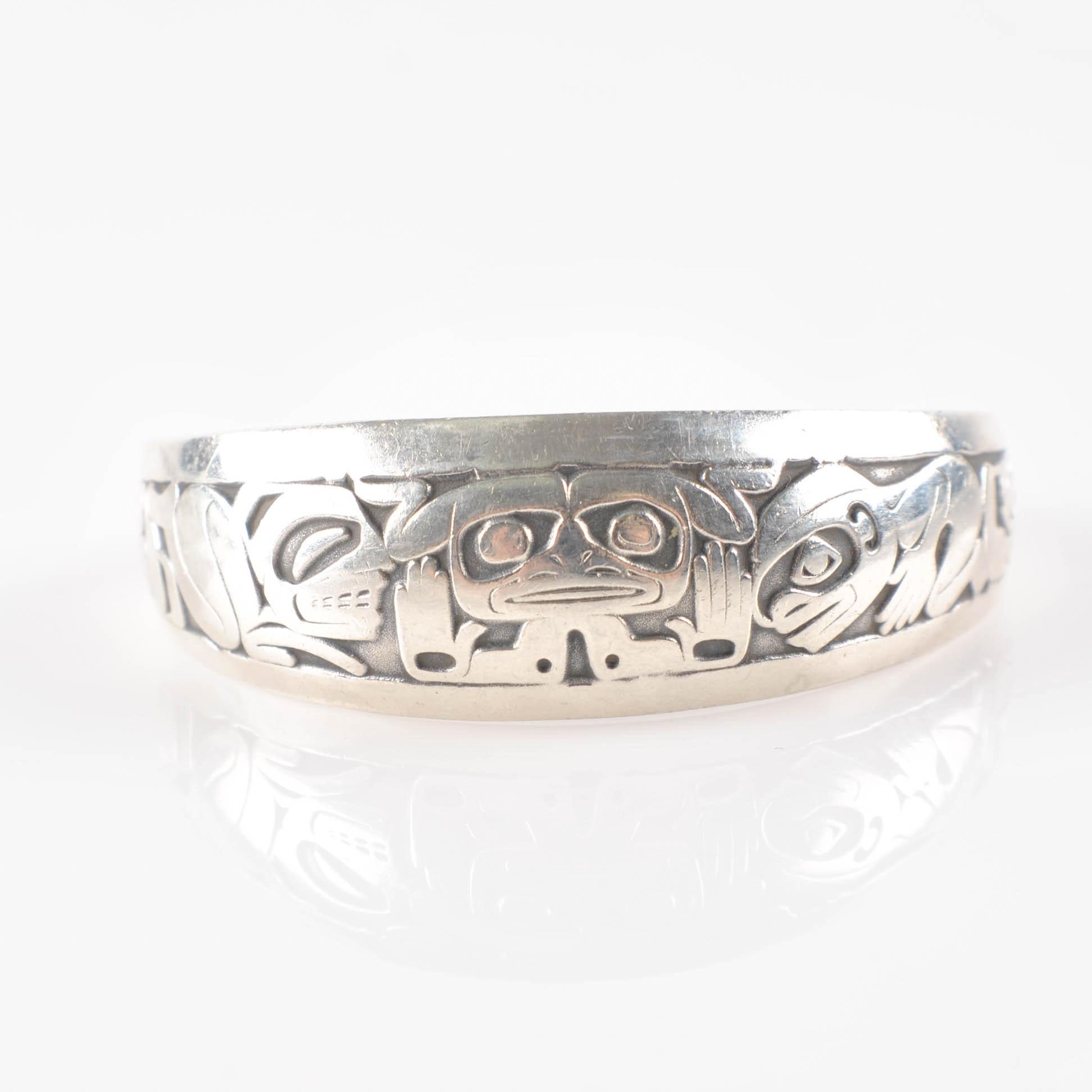 Vintage Barry Herem Sterling Pacific North West Emerging Mankind Cuff Bracelet