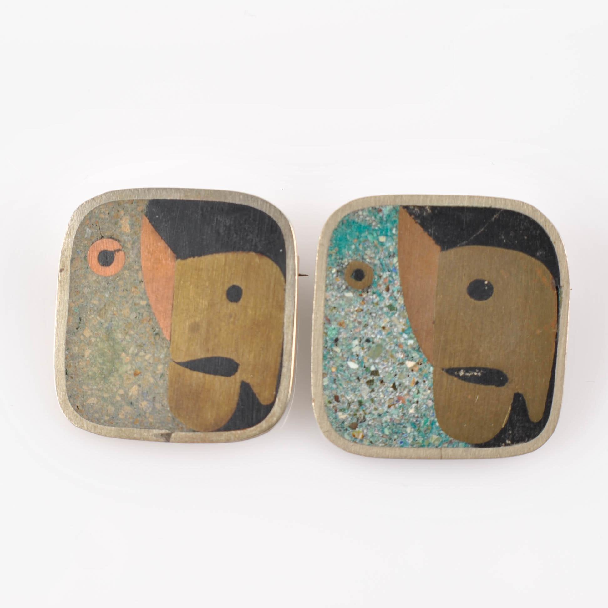 Vintage Los Castillo Taxco Sterling, Onyx, Turquoise Parrot Brooch Set