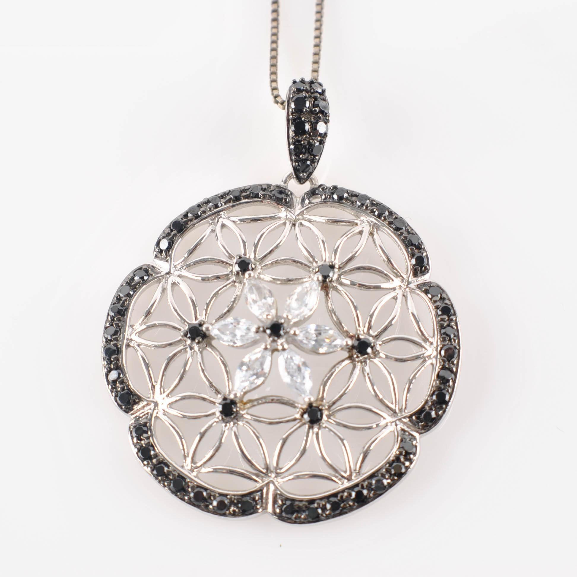 Sterling Silver Cubic Zirconia Mandala Medallion Pendant