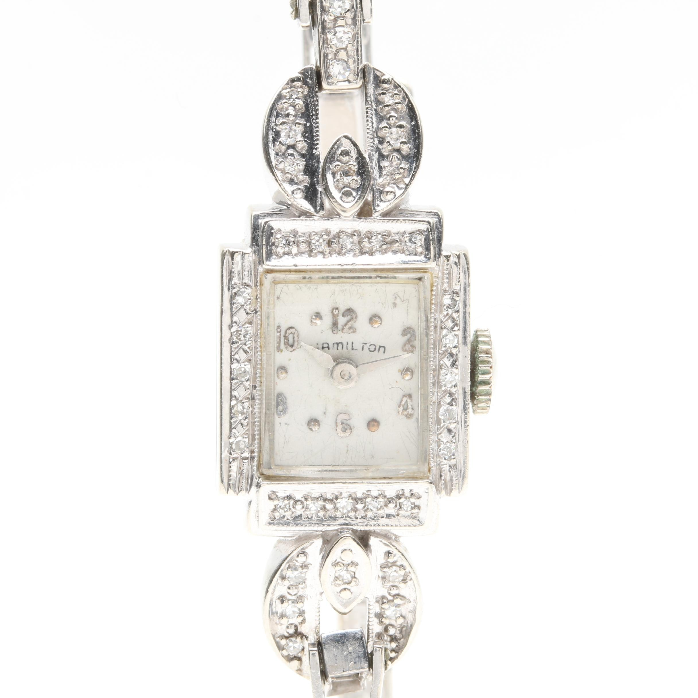 Hamilton 14K White Gold Diamond Wristwatch