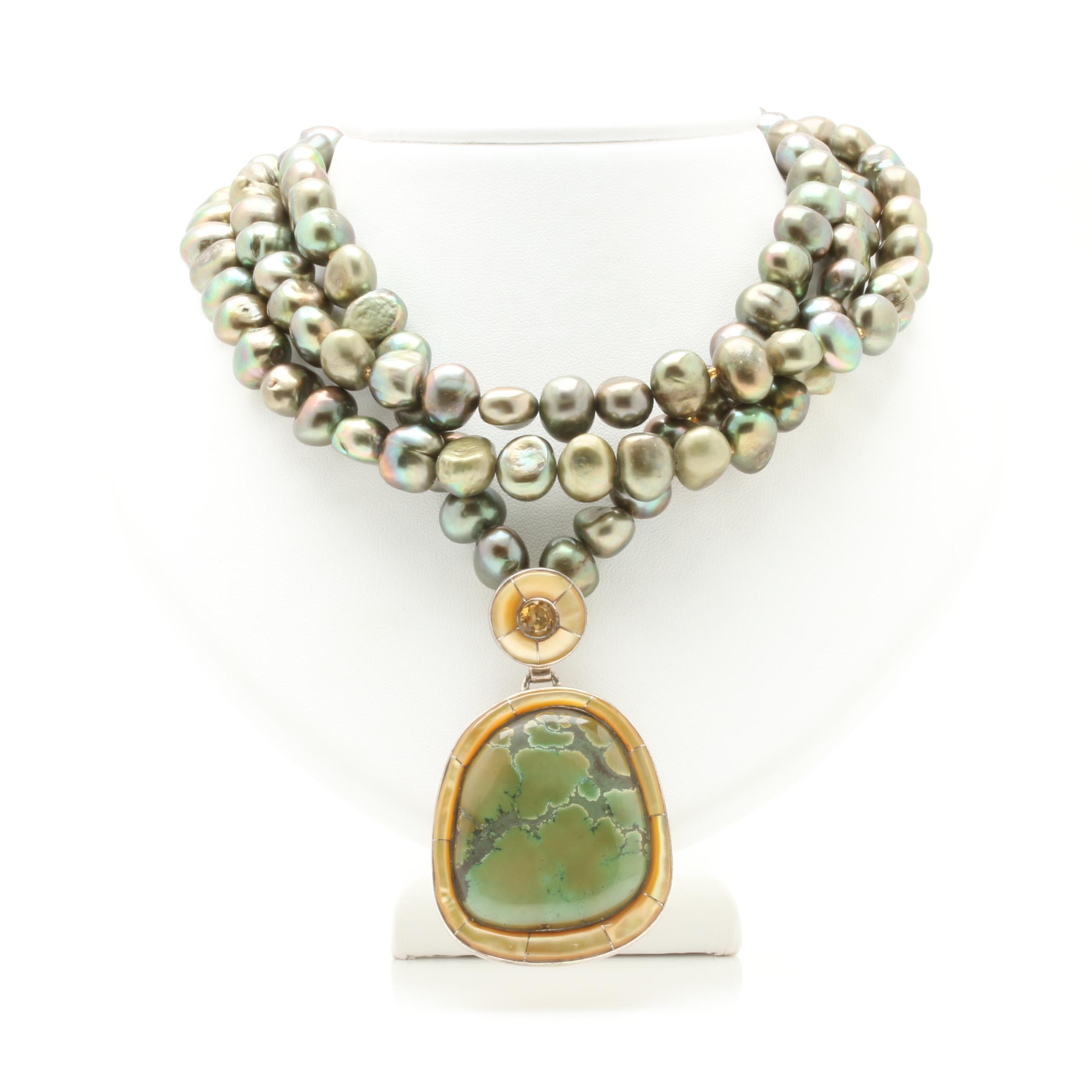 Sterling Silver Cultured Pearl, Citrine, and Green Turquoise Necklace