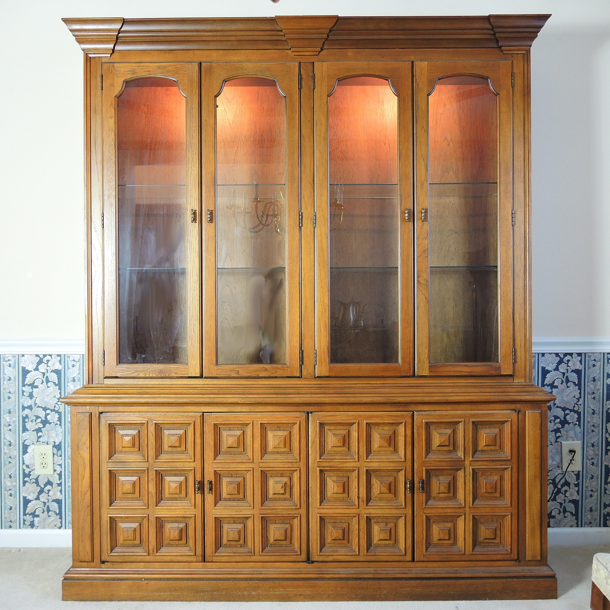 Mid Century Pecan China Cabinet by Drexel