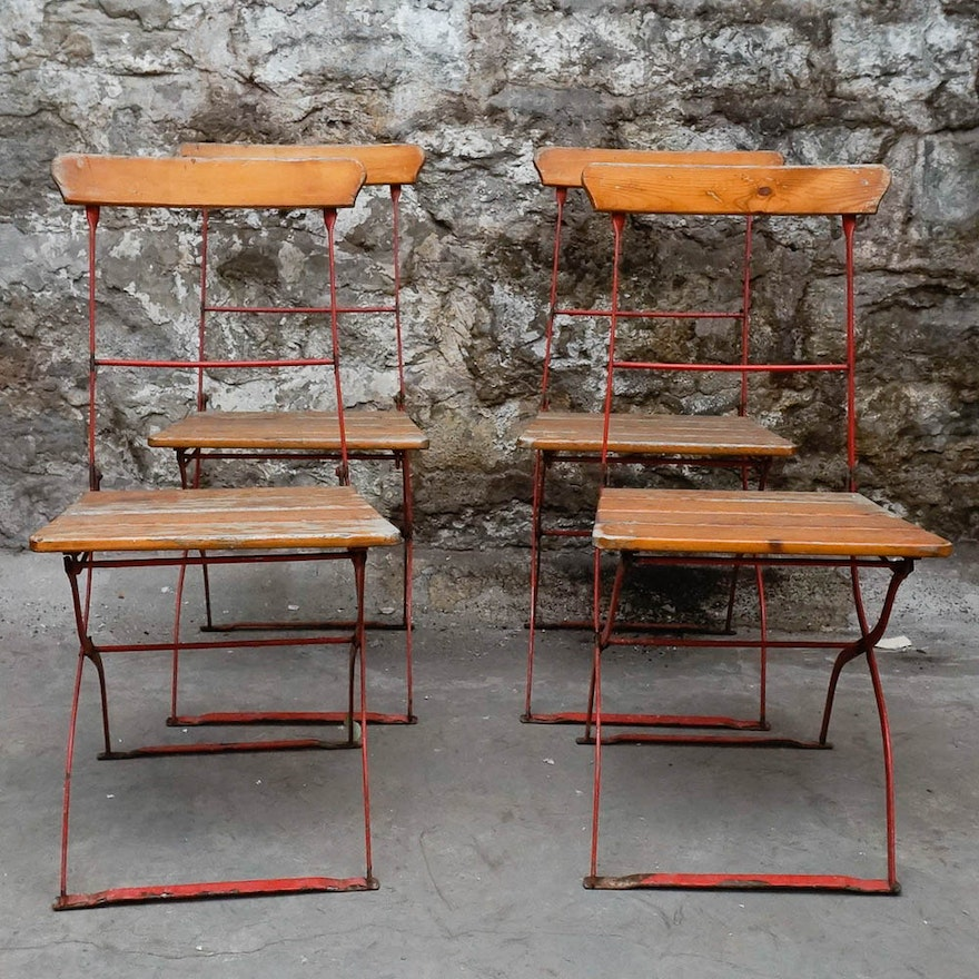Remarkable Vintage European Bistro Style Folding Patio Chairs Gmtry Best Dining Table And Chair Ideas Images Gmtryco