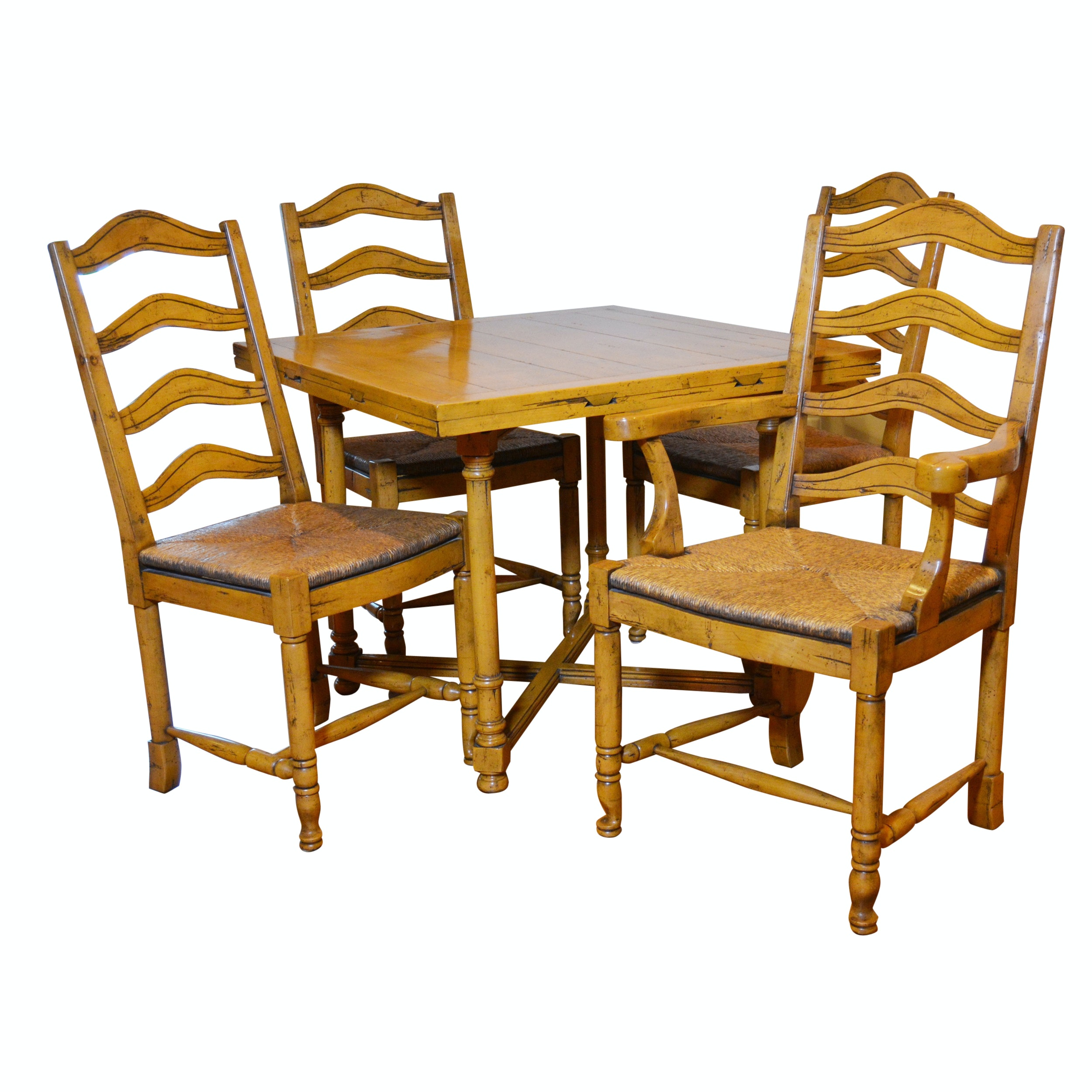 Charmant Plank Top Convertible Game Table And Ladder Back Rush Seat Chairs ...