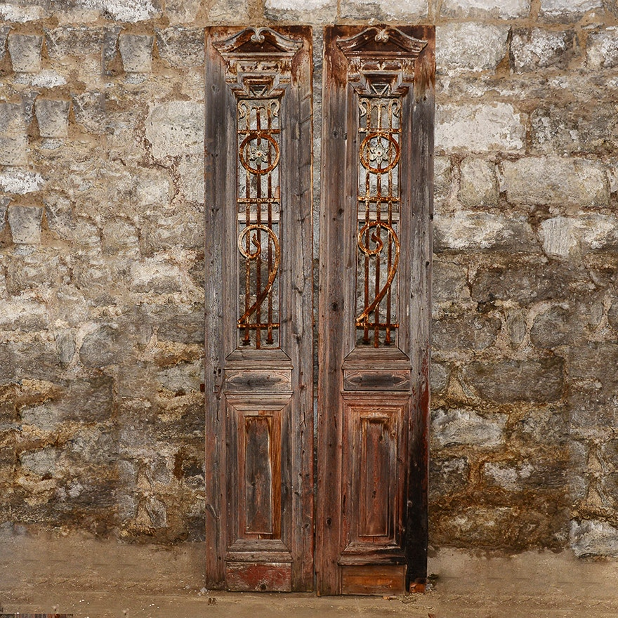 Antique French Doors With Wrought Iron ... - Antique French Doors With Wrought Iron : EBTH
