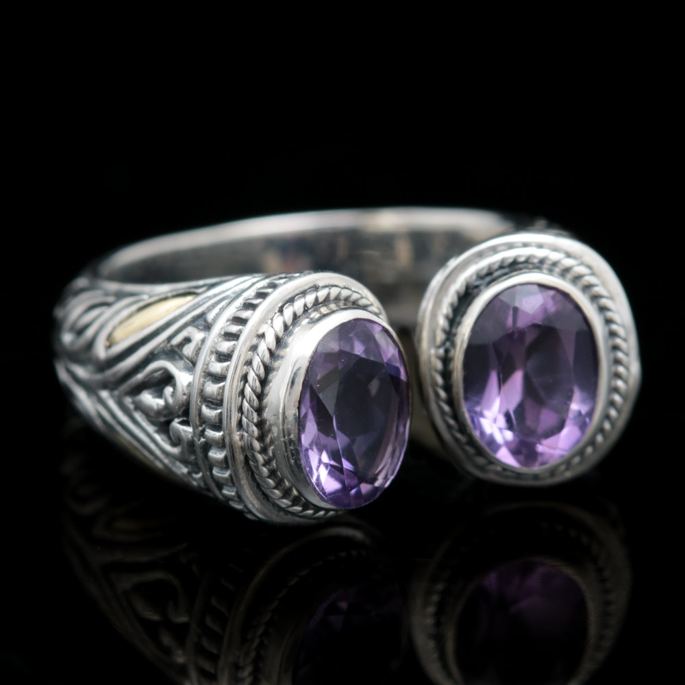 Robert Manse Sterling Silver, 18K Yellow Gold and Amethyst Open Cuff Ring