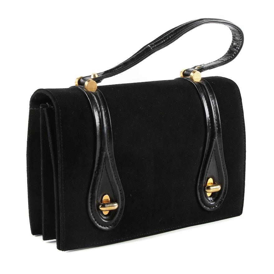 05d477cea6ae Vintage Tano Black Suede Handbag   EBTH