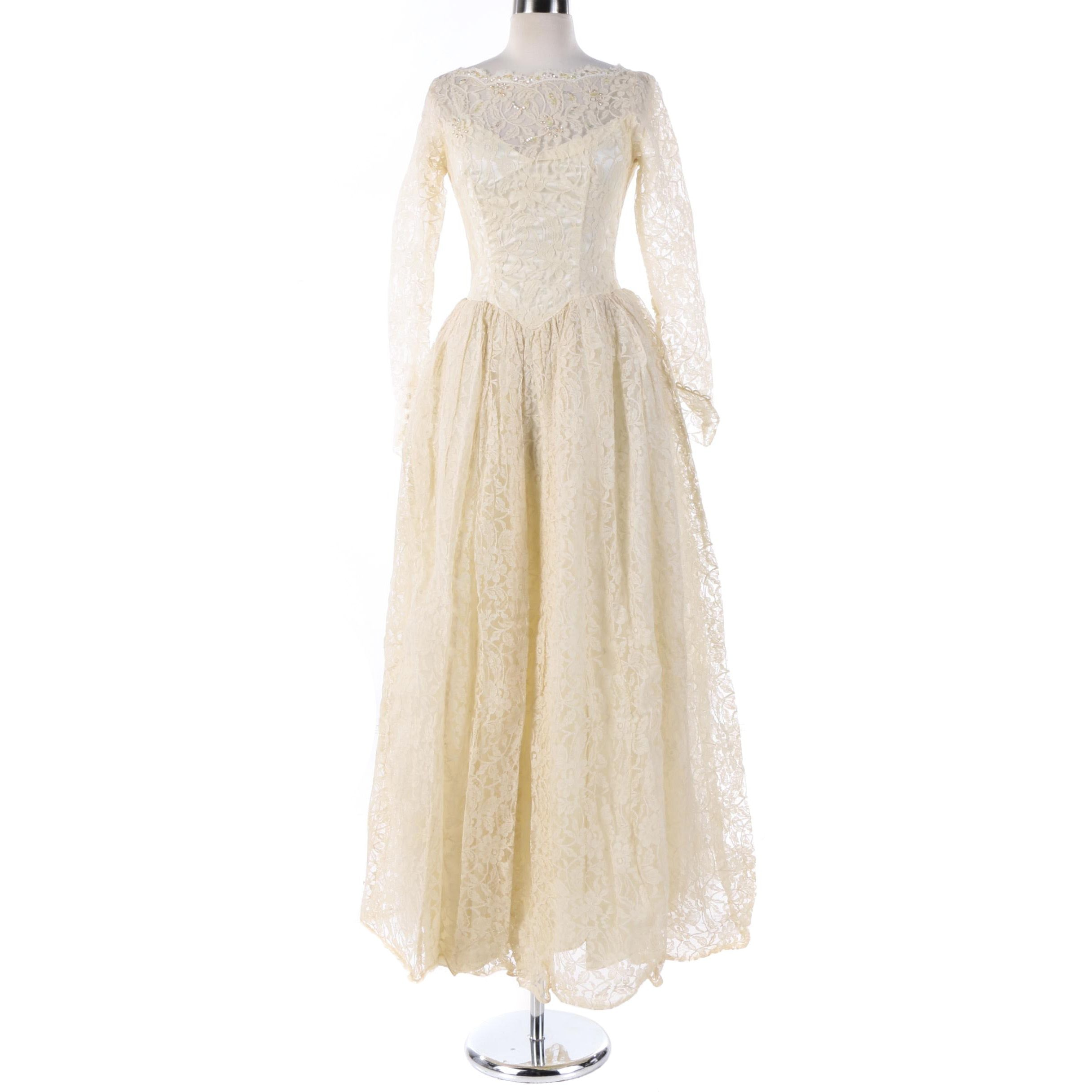 Circa 1960s Vintage Lace Princess Cut Wedding Gown Ebth