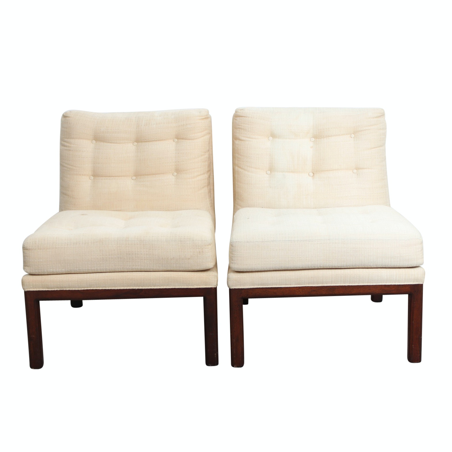 Two Mid Century Modern Style Upholstered Slipper Chairs