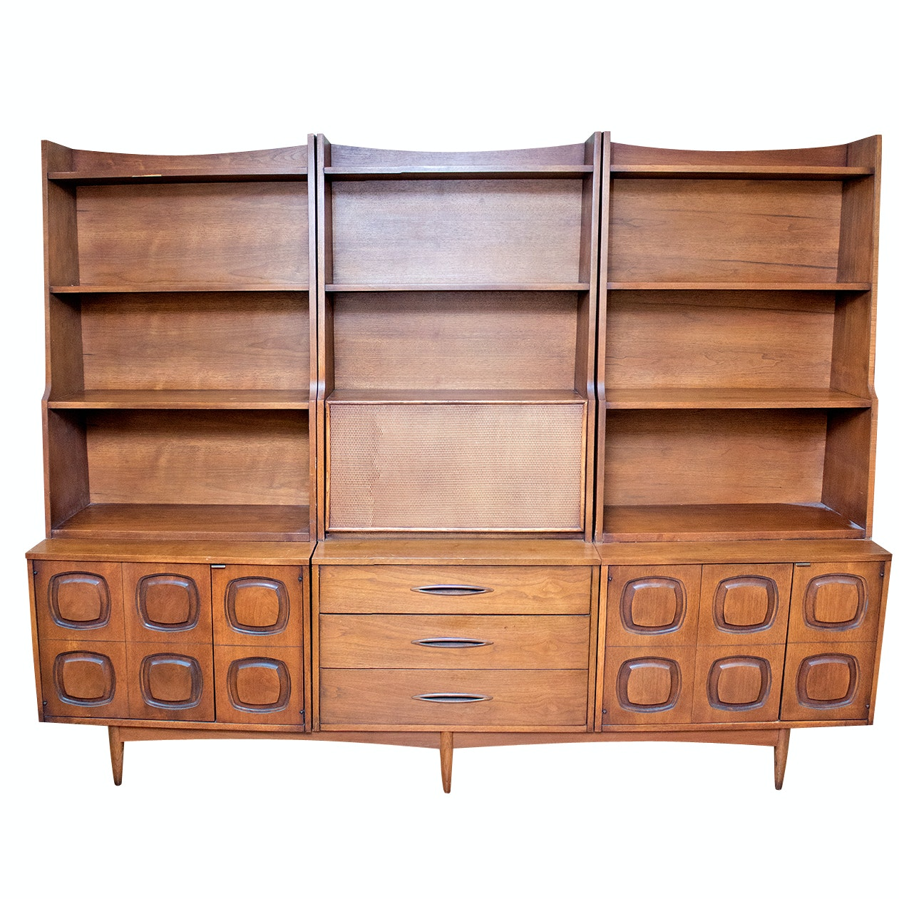 Sculptra by Broyhill Mid-Century Modern Walnut Bookcases