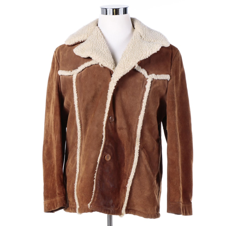 d46fb2c7f9be Men s Vintage Berman s Brown Suede Coat with Faux Shearling Trim and Lining    EBTH
