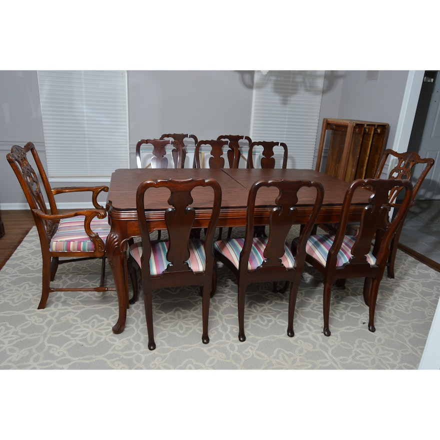 Vintage Chippendale Style Dining Table With Chairs By John Widdicomb Furniture
