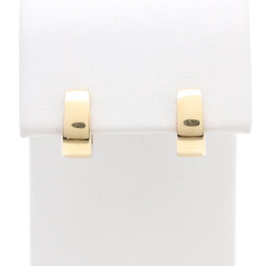 14k Yellow Gold And White Huggie Hoop Earrings