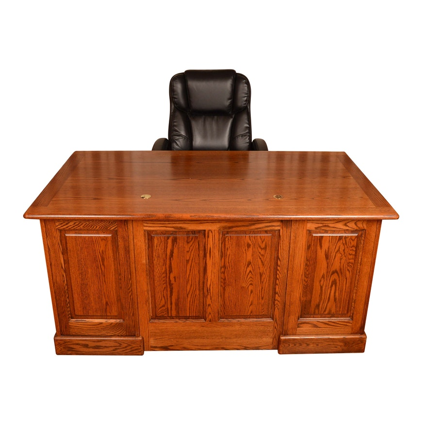 Superb Oak Executive Desk By Winners Only With Rolling Office Chair Dailytribune Chair Design For Home Dailytribuneorg