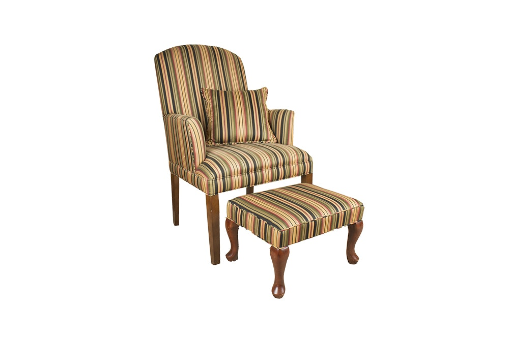 Striped Armchair And Ottoman ...