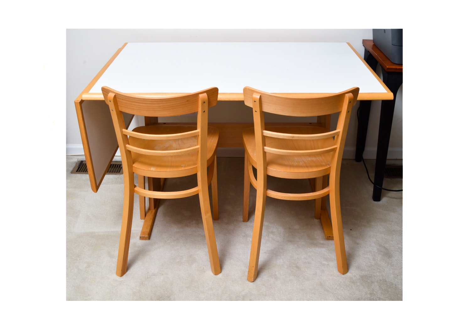 Drop Leaf Table with Two Chairs