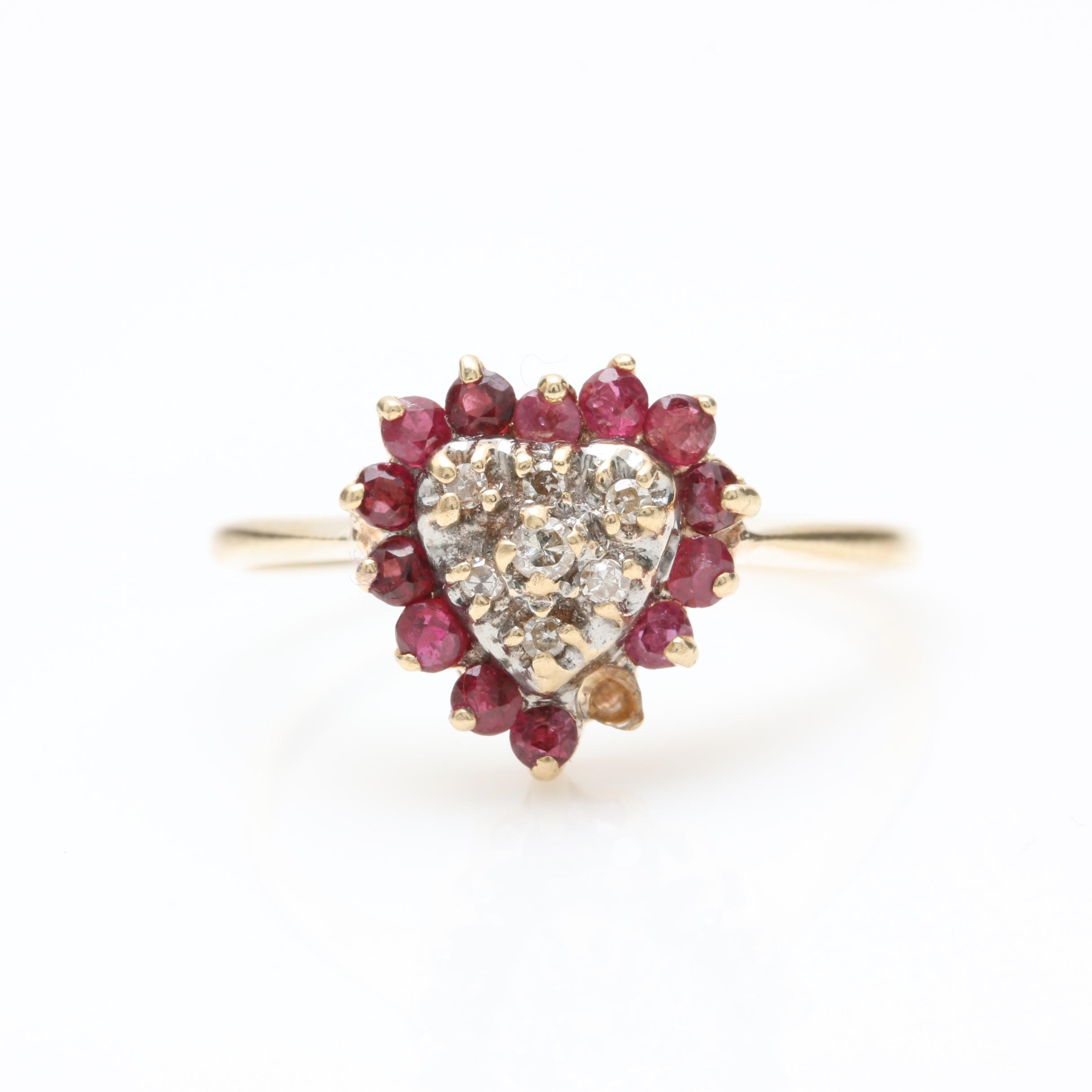 14K Yellow Gold Diamond and Ruby Heart Ring