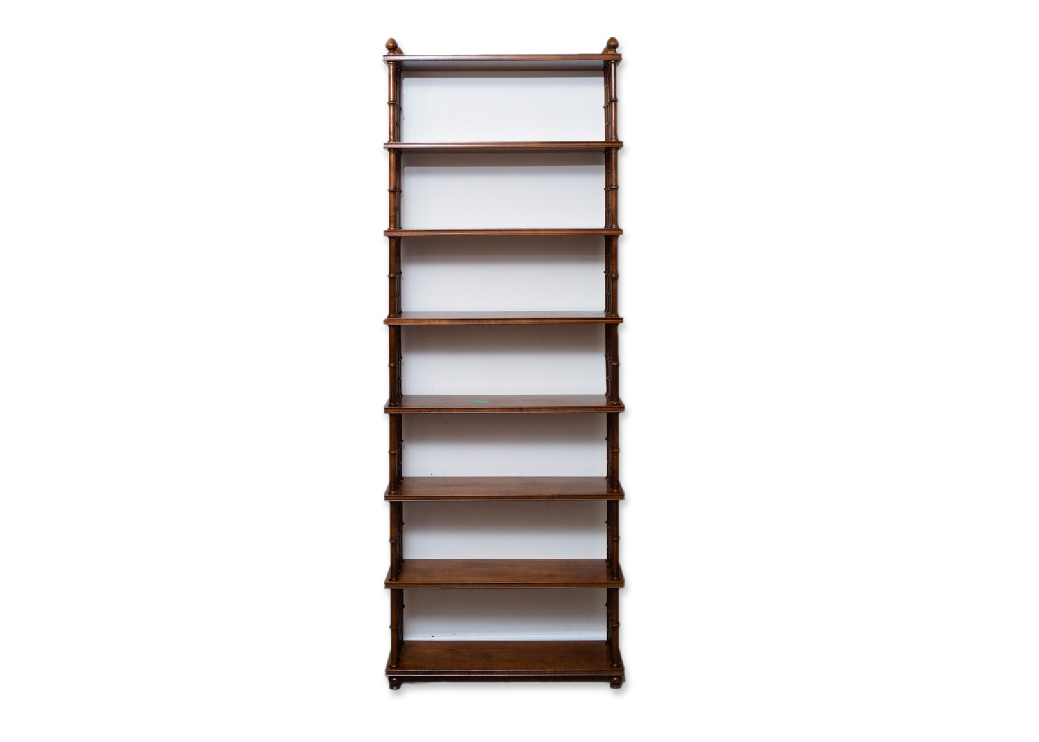 Vintage Open Bookcase with Bamboo Turned Spindle Supports