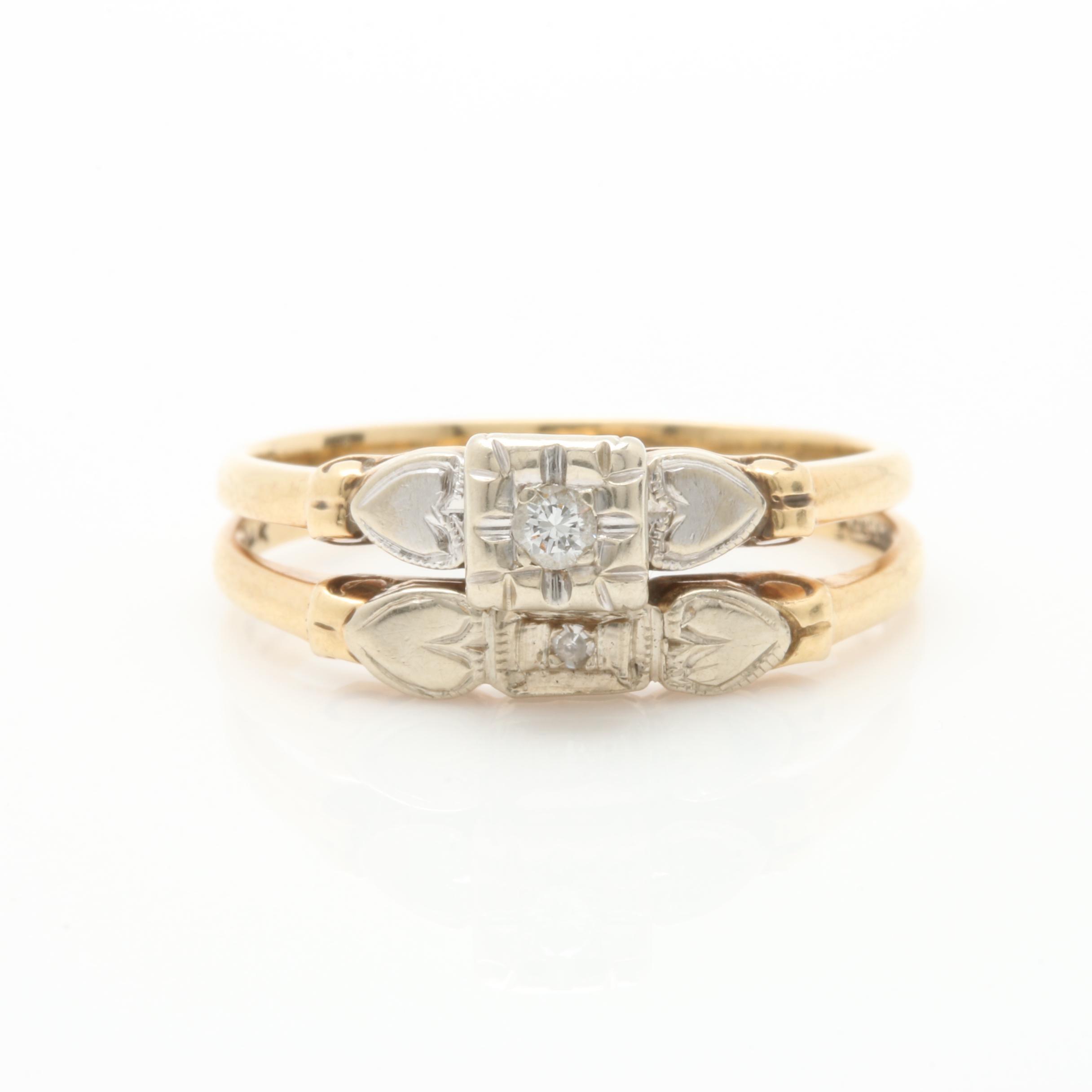 Vintage Keepsake 14K Yellow Gold Diamond Ring Set
