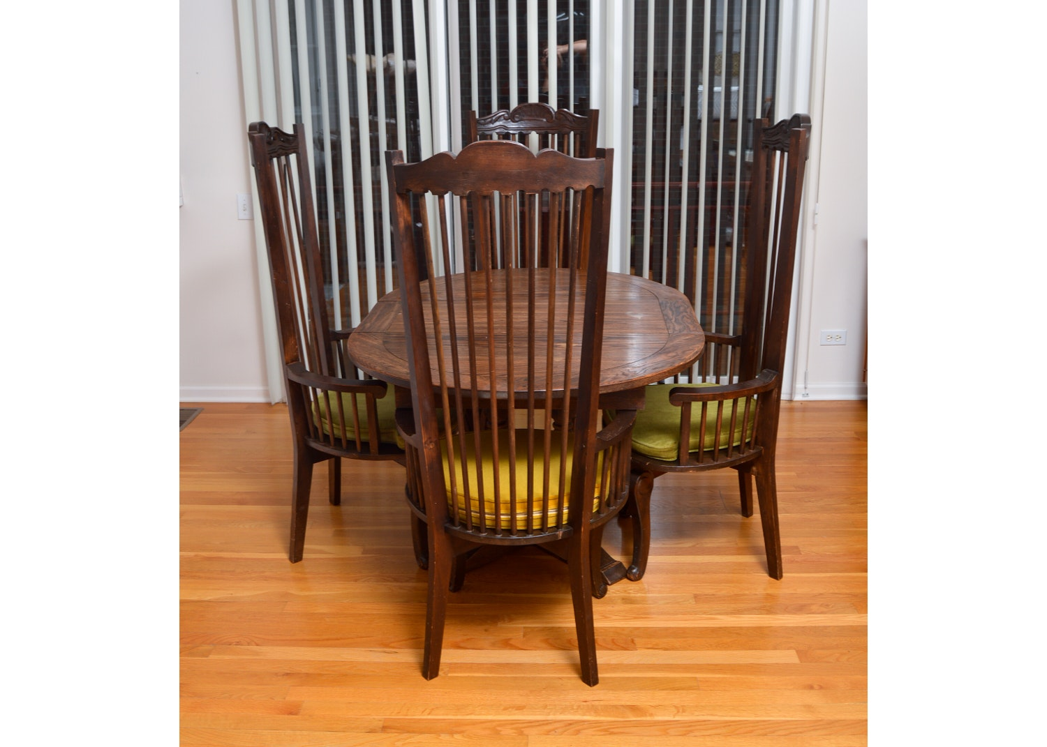Dining Table and Set of Four Vintage Carved Wood Chairs
