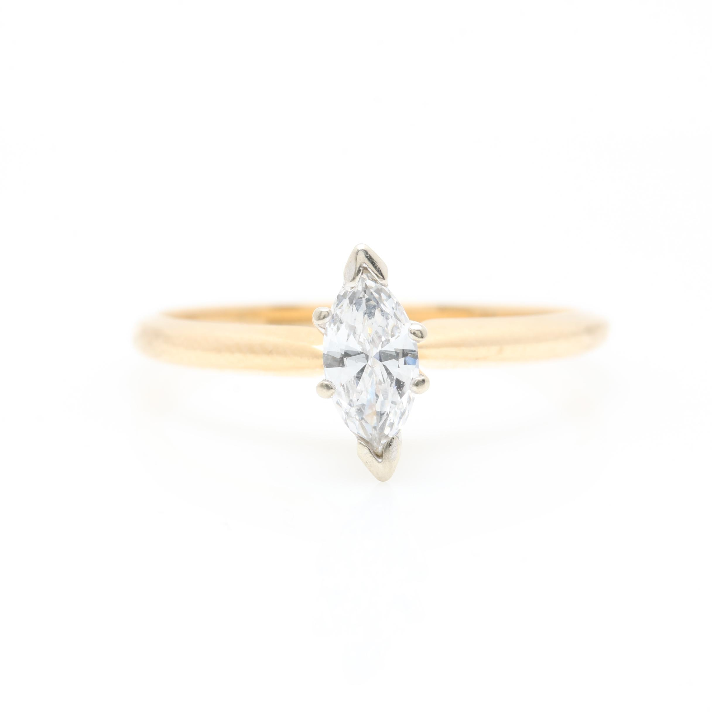 14K Yellow Gold Marquise Diamond Solitare Ring