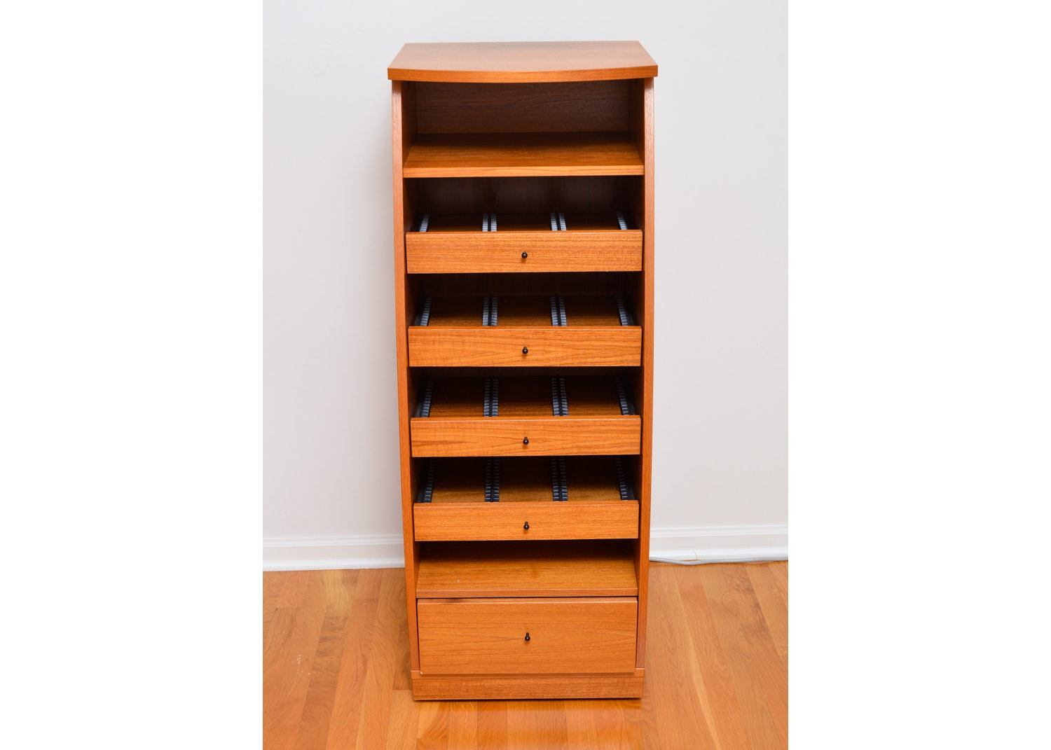 Contemporary Style Teak Finish DVD Tower