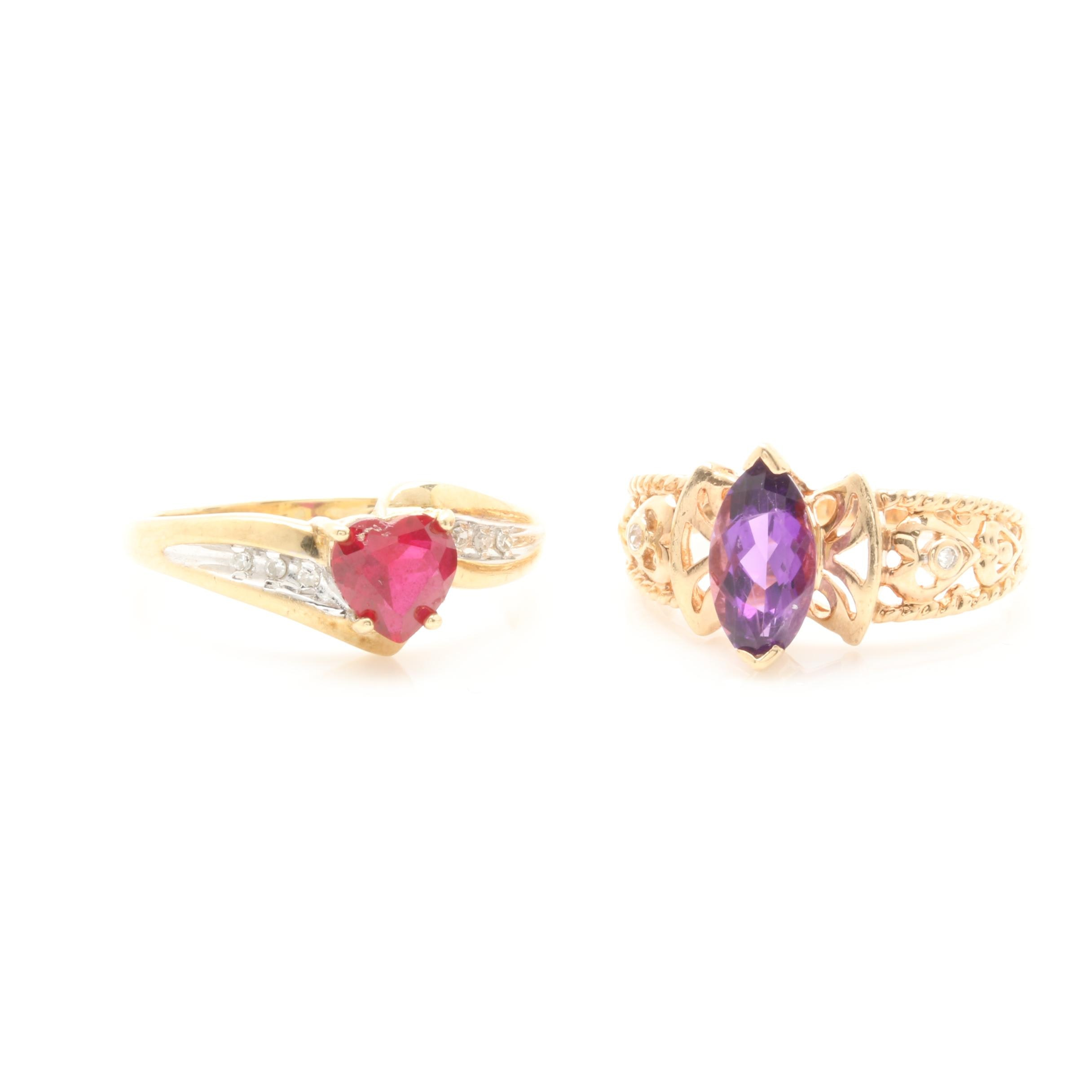 10K Yellow Gold Amethyst, Synthetic Ruby, and Diamond Ring Selection