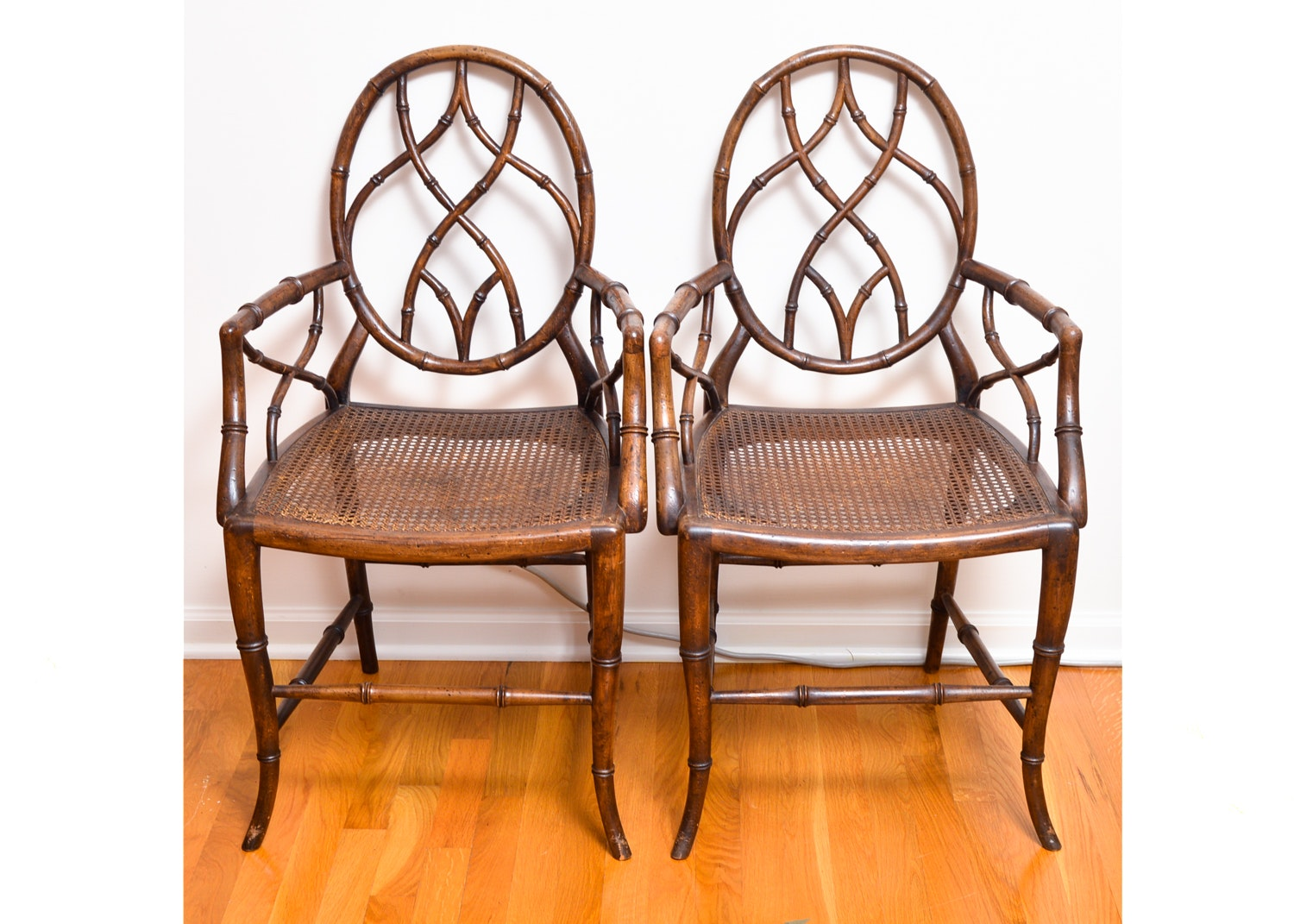 Bamboo Style Armchairs with Cane Seats