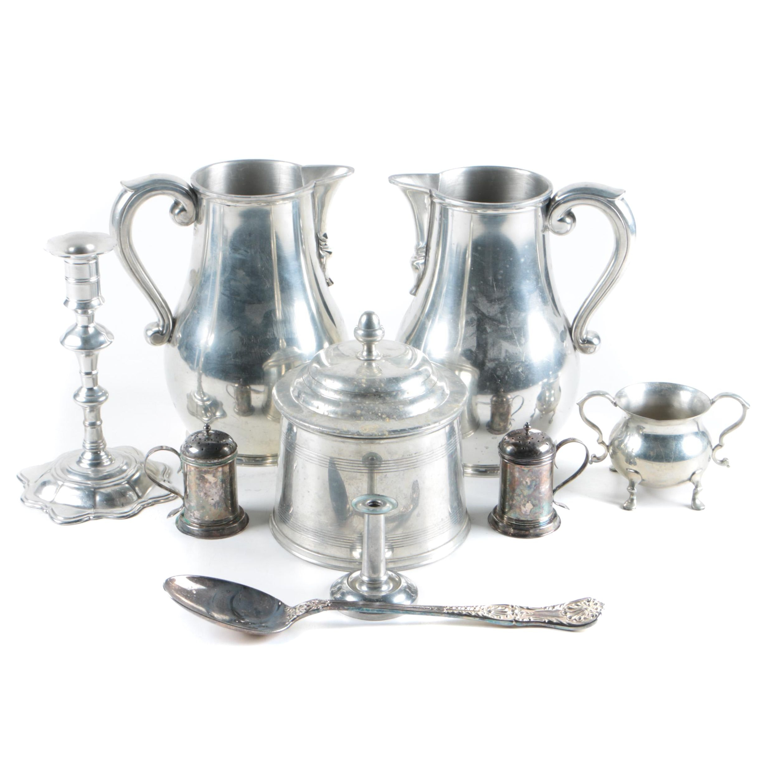 "Kirk Stieff ""Williamsburg"" Pewter Pitchers and Jar and Other Serveware"