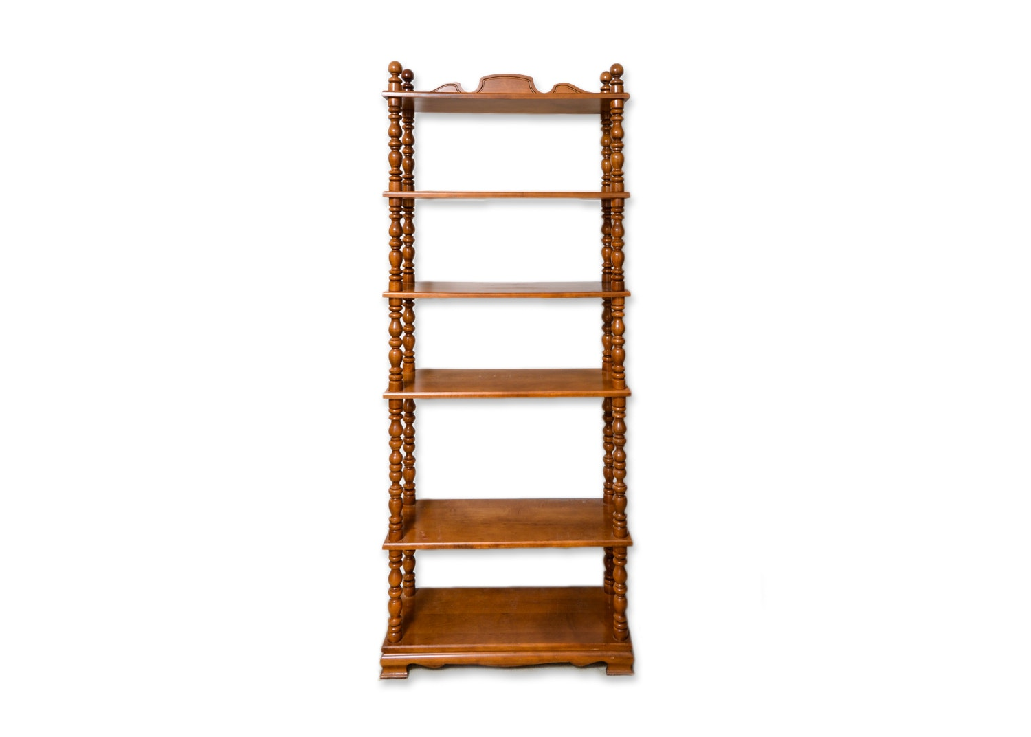 Vintage Wooden Open Bookcase with Turned Columns