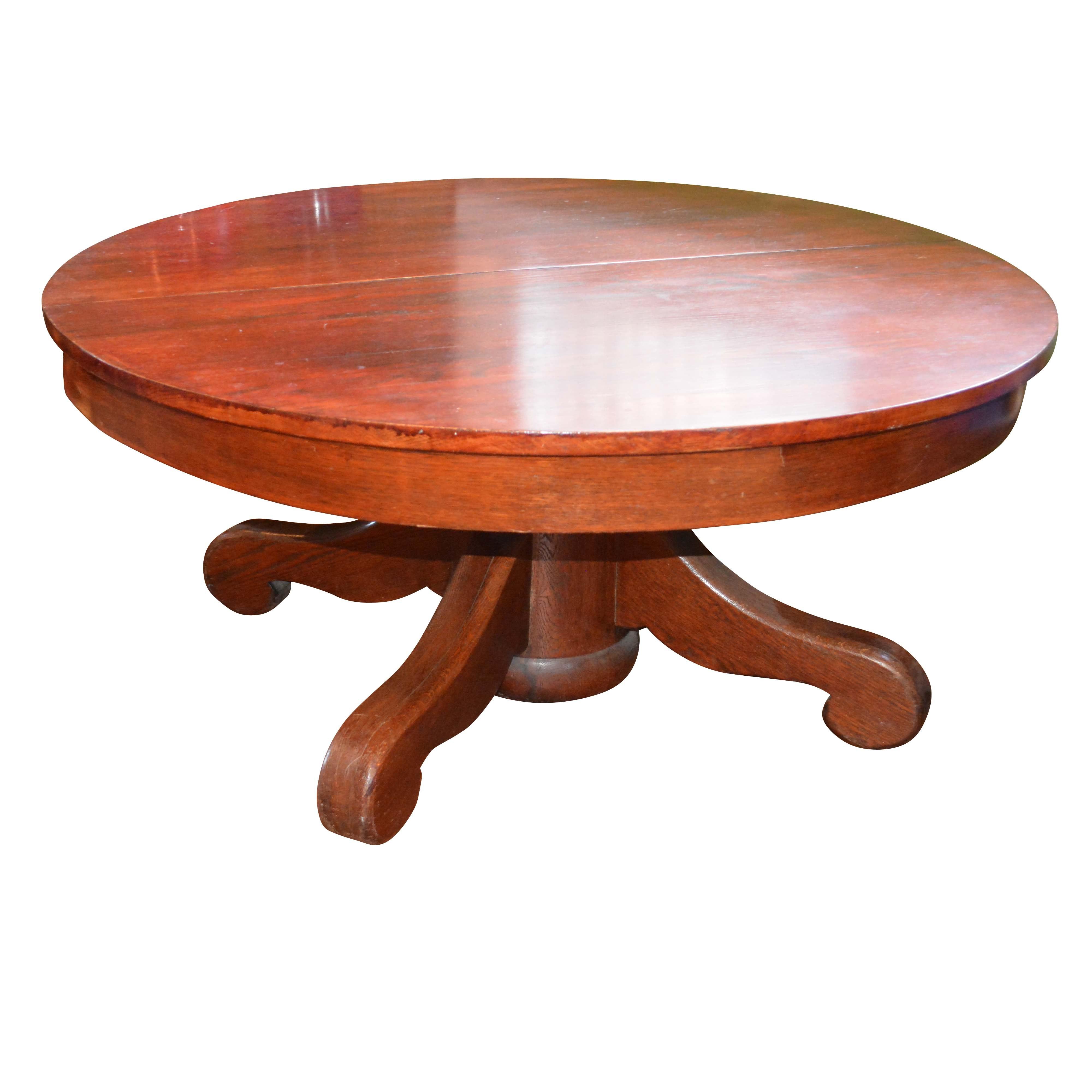 Antique Empire Style Oak Coffee Table