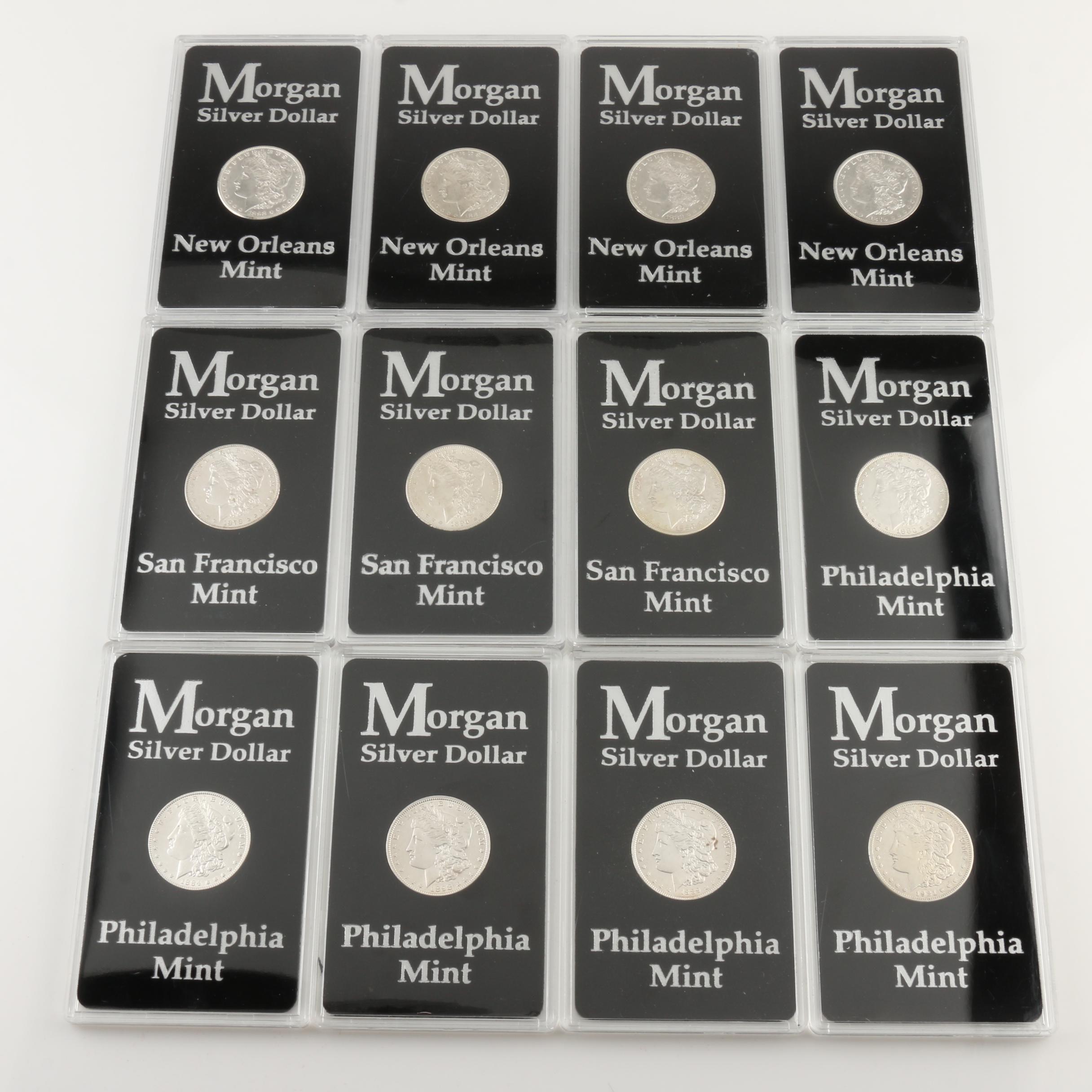 Group of 12 Silver Morgan Dollars