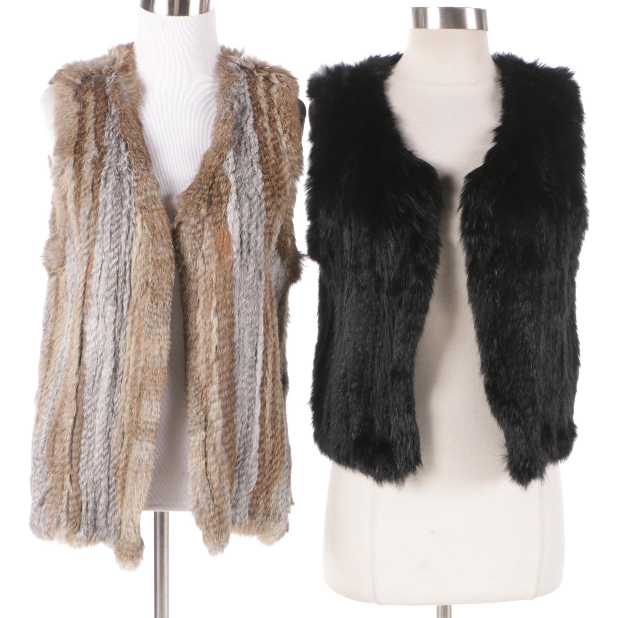 525 America Knit Rabbit Fur Vests