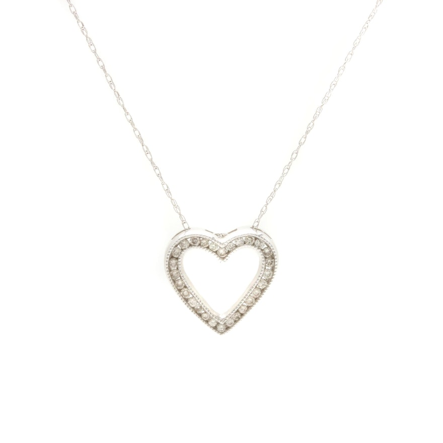 10k white gold diamond heart pendant necklace ebth 10k white gold diamond heart pendant necklace mozeypictures Images