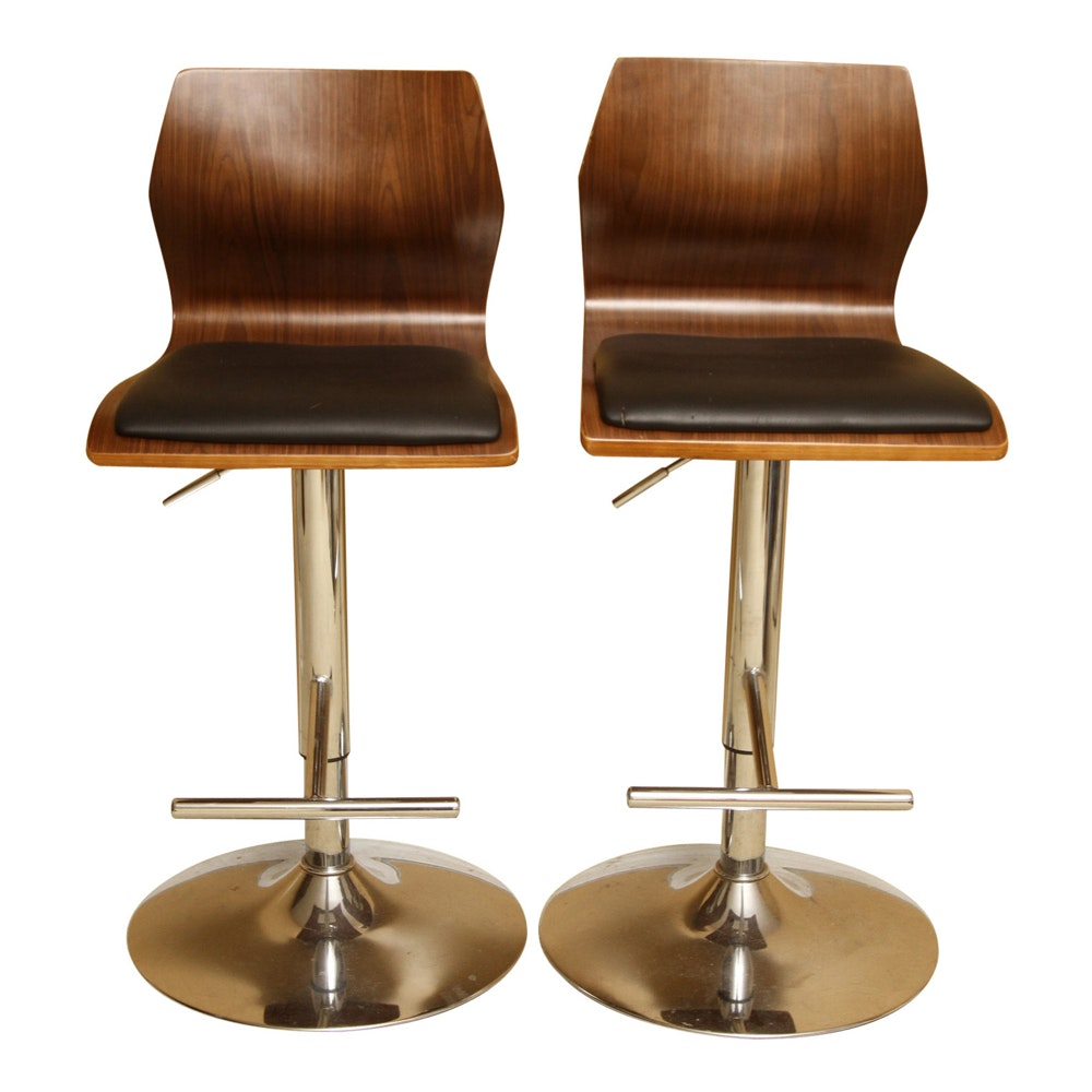 Contemporary Bentwood Adjustable-Height Bar Chairs