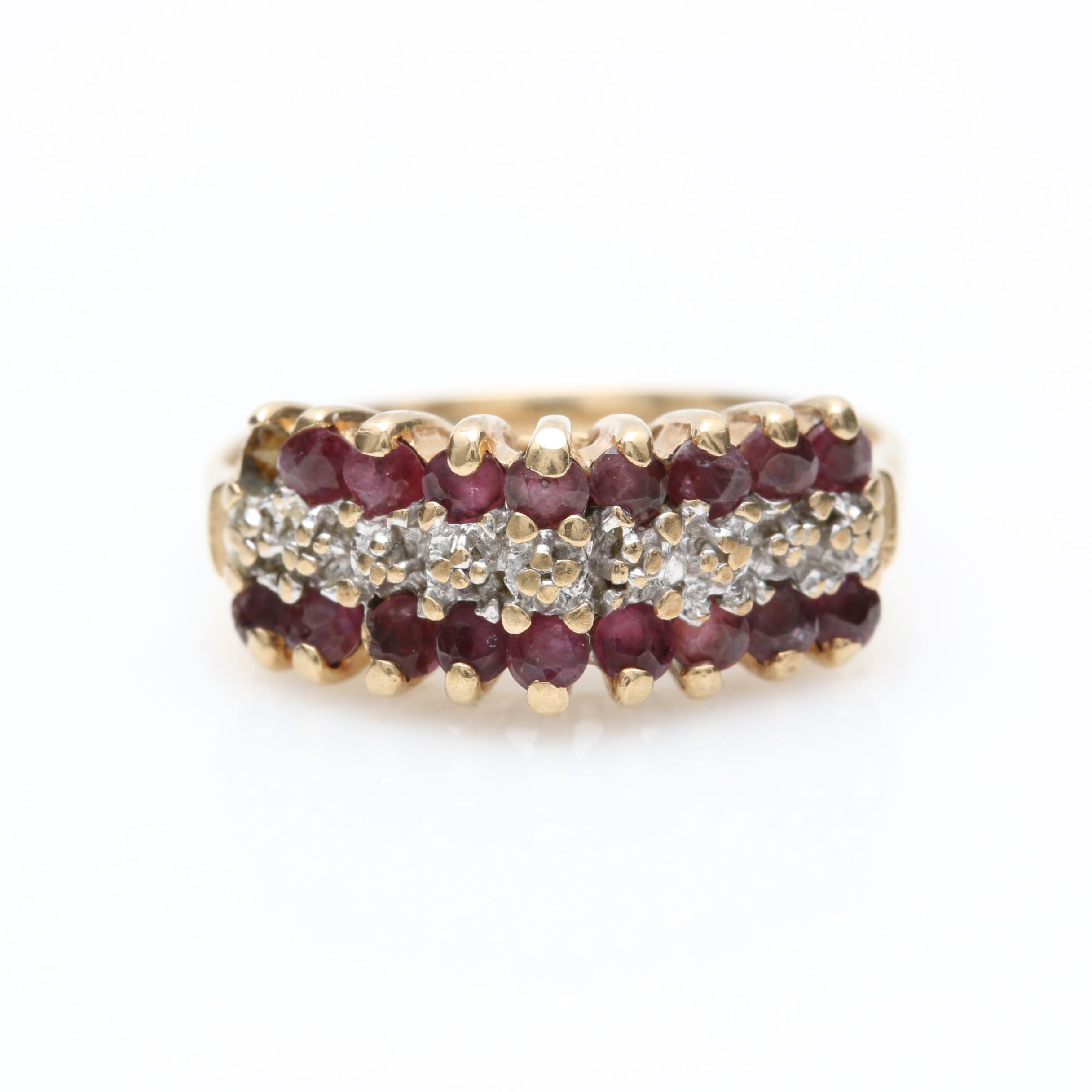 10K and 14K Yellow Gold Diamond and Ruby Ring