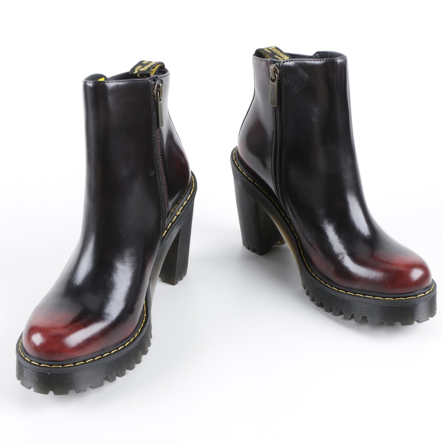 4e66e9b367b6a Dr. Martens Magdalena Black and Cherry Red Ankle Boots   EBTH