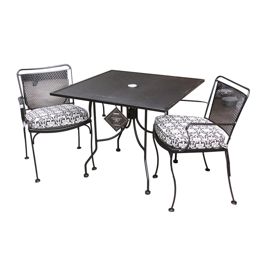 Meadowcraft Metal Patio Table With Chairs And Cushions Ebth