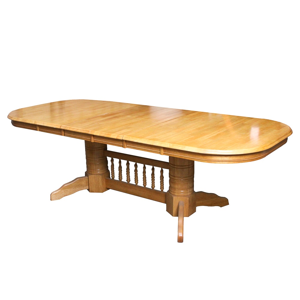 Maple Two-Pedestal Dining Table With Leaves