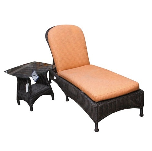 Summer Classics Wicker Patio Chaise Lounge With Lloyd Flanders Side Table  ...