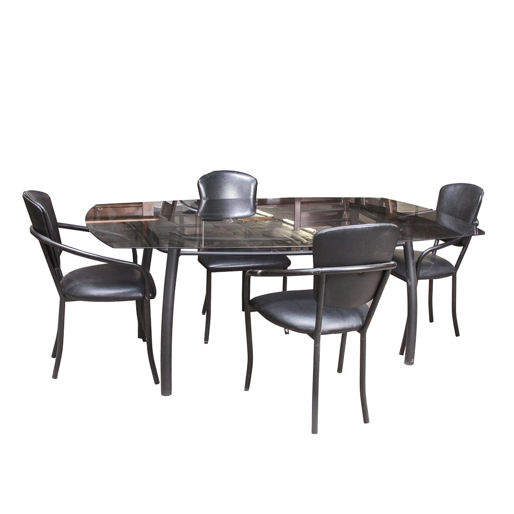 Glass Top Dining Table with Dining Chairs by Amisco