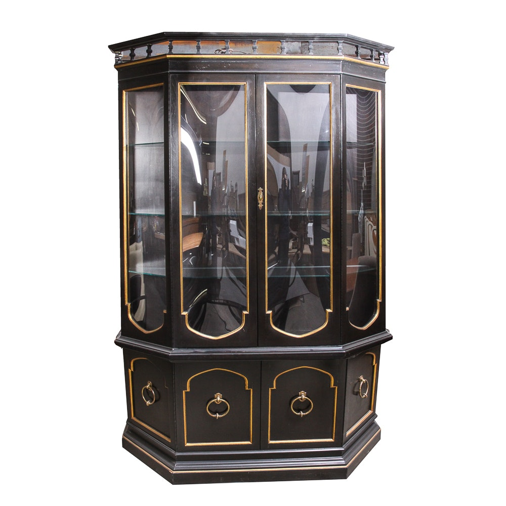 Black-Painted China Cabinet with Gilded Accents