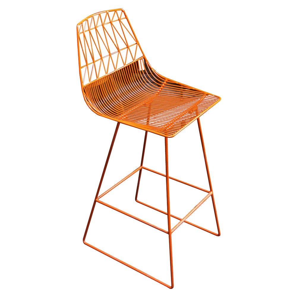 Modern Orange Wire Metal Bar Chair