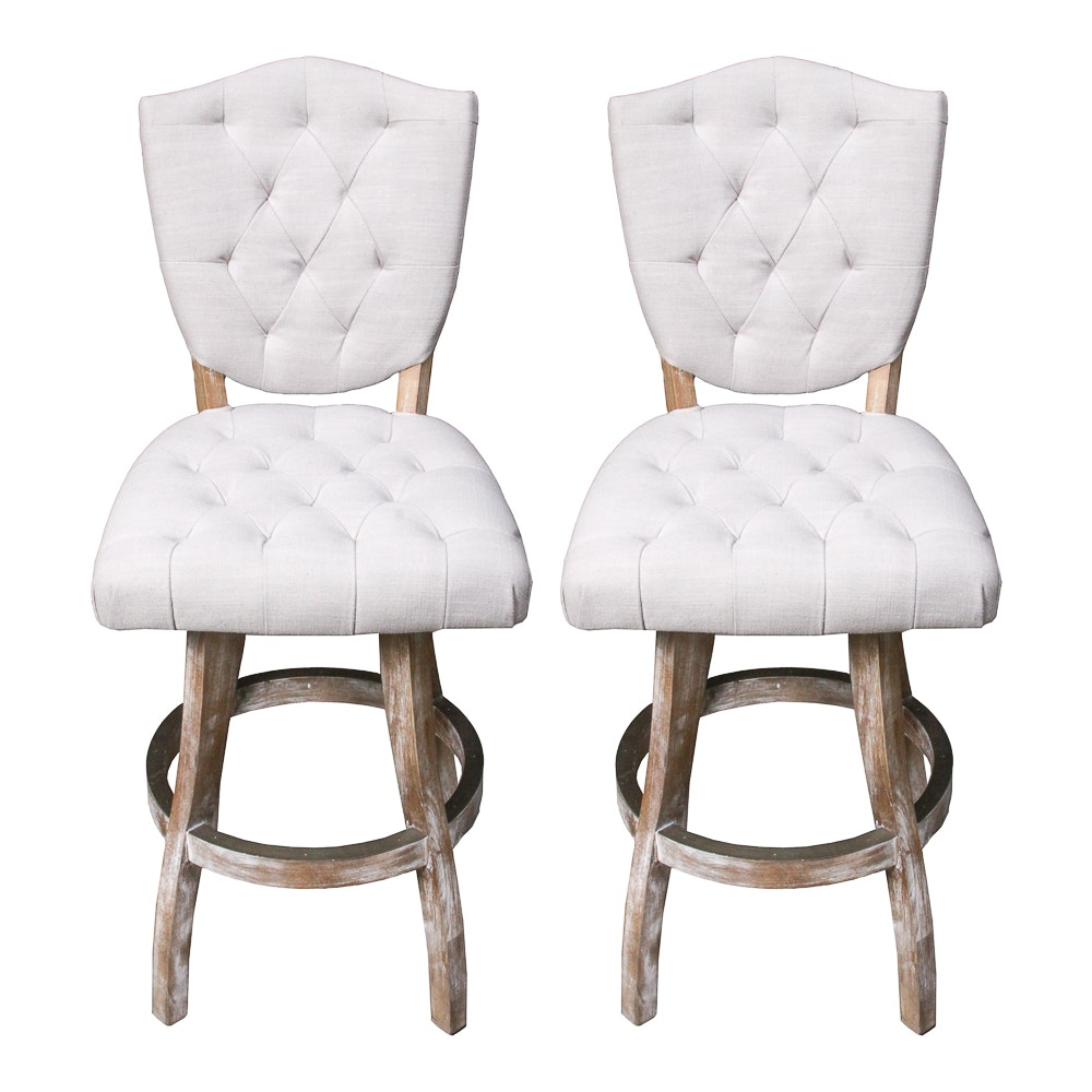 Pair of Tufted Counter Stools