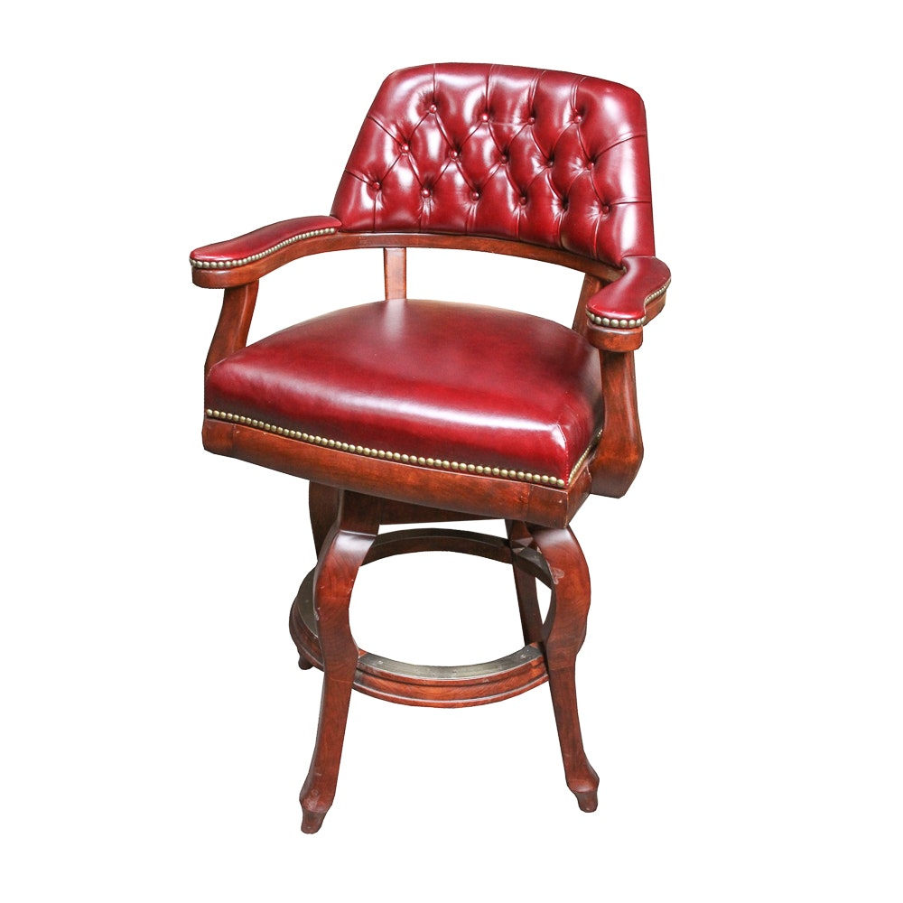 Button-Tufted Swivel Barstool