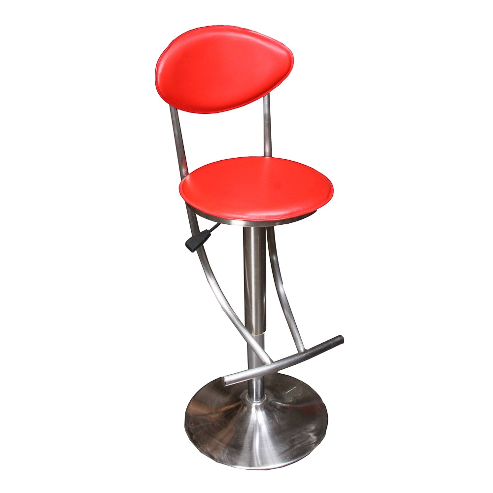 Modern Faux Leather Adjustable Height Barstool