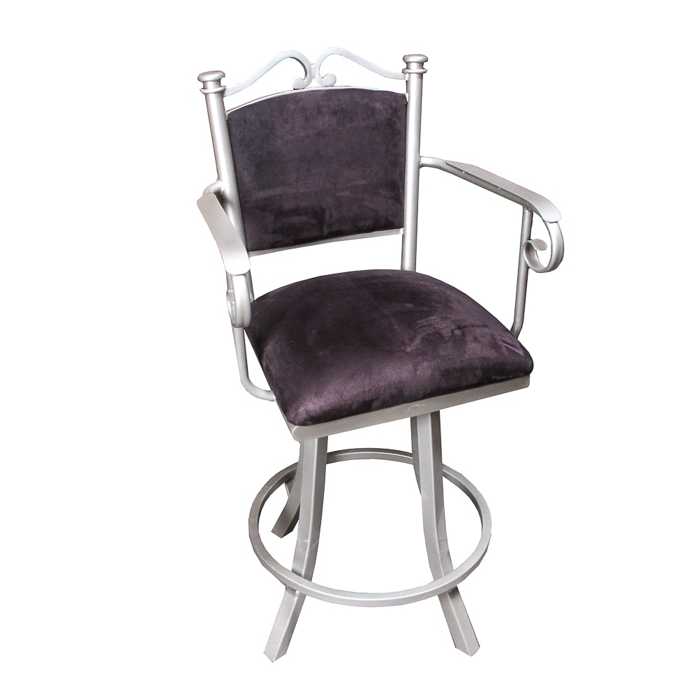 Contemporary Scroll Arm Swivel Bar Stool