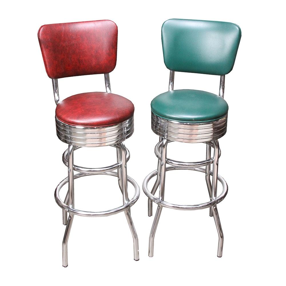 Chrome Swivel Bar Stools with Backrests